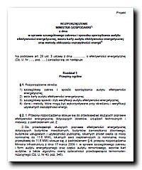 Pierwsza strona projektu rozporządzenia o audytach do ustawy o EE